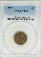 1859 PCGS 1C Indian Head Cent/Penny Very Fine VF35