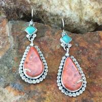 Vintage Women Tibetan Boho 925 Silver Turquoise Dangle Hook Earrings Jewelry