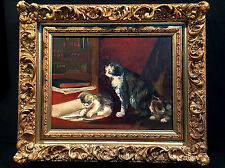 ADORABLE 21X18 ANTIQUE OIL ON CANVAS PAINTING MOTHER CAT + KITTENS ORNATE FRAME