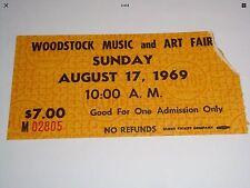 WOODSTOCK 1969 AUTHENTIC ADVANCE $7 SUNDAY TICKET STUB ^ *RARE* Black Lettering