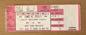 1991 GUNS N' ROSES SKID ROW LOS ANGELES CONCERT TICKET STUB USE YOUR ILLUSION 82