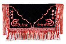 Western Barrel Rodeo Show Saddle Pad With Fringes- Red