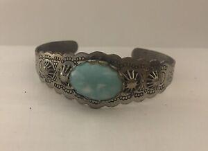 Vintage Fred Harvey Era Nickel Silver Turquoise Cuff Bracelet