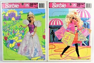 1992 Barbie Frame Tray Puzzle Lot of Two Shopping & Princess Golden