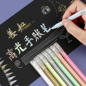 Color Highlight Pens Fine Art Painting Pen Diary Hook Line Pen Writing Materials
