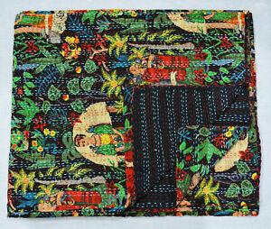 Frida Kahlo Kantha Quilt Indian Reversible Bedspread Black Handmade Bedding set