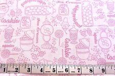 Gumdrops & Lollipops Fabric Pink Toile Print  Cotton Fabric Quilting Treasures
