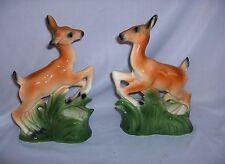 Vintage Pair Porcelain Whitetail Deer Figurines Vases Bookends NICE