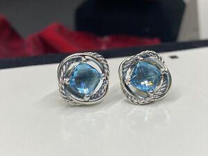 Authentic David Yurman 925 Silver 7mm Blue Topaz Infinity Earrings Earrings