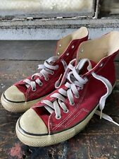 Vintage Mens Converse Made In Usa Shoes 1980's 90's Size 10.5 High Top Cons Red