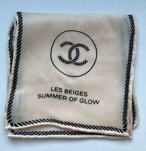 Chanel scarf handkerchief SILK BEIGE LOGO LES BEIGES RARE VIP GIFT