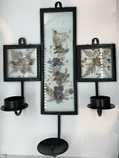 Vtg Black Iron Metal Purple Pressed Dried Flower Candle Holder Wall Sconces Boho