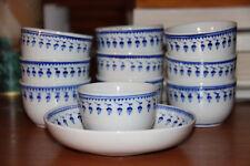 Porcelaine Tournai: 10 pochons et leurs soucoupes, décor au gland