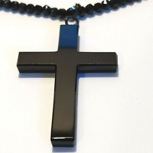 Antique Vintage Brass Black Glass Large Nuns Cross Victorian Mourning Mourning