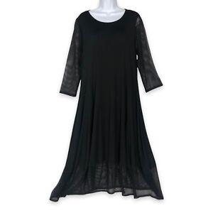 Comfy USA Dress Size L Black Swing A-Line w/ Fishnet Sleeves & Trim Modal Knit