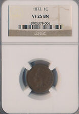 1872 Indian Head Cent *Ngc Certified Vf 25 Bn* Free Shipping!
