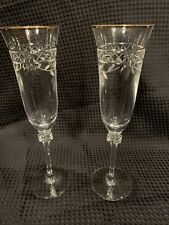 2 Vintage Royal Doulton Crystal Champagne Flutes ~ Glasses, Wellesley Gold Trim