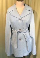 Cute Vintage Baby Blue Poly Sculpted Knit Belted Cape Shoulder 15""