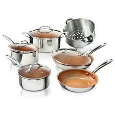10 Piece Cookware Set w Lids Non Stick Ti Cerama Premium Stainless Steel Kitchen