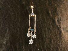 Bauchnabel Piercing Blüten 24 Karat Vergoldet Gold Blau Blumen Blätter Sommer