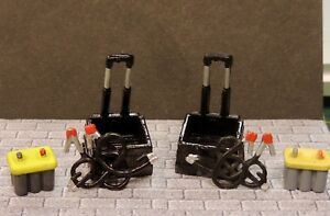 TWO BATTERY CHARGER W/CABLES and ROLLER CARTS DIORAMA ACCESSORIES 1/24 G SCALE