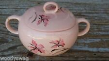 Vintage Pink Sugar Bowl with lid Flower Retro Kitchen Mid-Century Unmarked