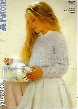 Patons MISTY DK KNITTING PATTERN, Girls V-Neck SWEATER