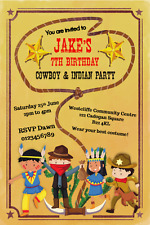 Children Personalised Cowboy & Indian Western Birthday Party invitations x 10
