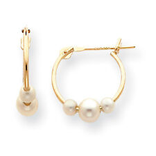 14K Yellow Gold FWC Pearl Moveable Hinged Hoop Earrings Madi K Kid's Jewelry