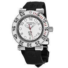 Charriol Men's Rotonde Silver Dial Rubber Strap GMT Quartz Watch RT42DIVW142D02