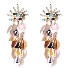 Luxury Crystal Rhinestone Earrings Folded Sequins Tassel Drop Jewelry Hot New