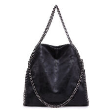 Ladies Fashion Handbag Chain Handle Soft PU Leather Shoulder Bag Comfortable Black
