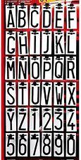 Lettere e numeri adesivi neri per Targa ripetitrice Carrello Rimorchio 8cm