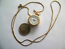 24'' GOLDTONE NECKLACE & QUARTZ PENDANT WATCH