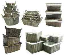 Shabby Chic Oak Wicker Log Big Deep Oval Rectangle Lidded Hamper Storage Basket