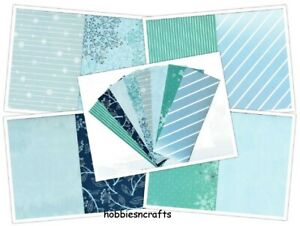 WINTER BLUES 200 gsm 6 x 6 Papers Sample pack - 1 OF EACH DESIGN See photos
