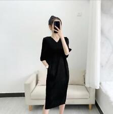 2021 new ISSEY MIYAKE long ladies V-neck dress