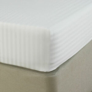 """LUXURY PREMIUM FITTED SHEET 100% EGYPTIAN COTTON SATIN STRIPE 12""""30CM BED SHEETS"""