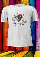 Deadpool Riding a Unicorn Rainbow Cartoon Parody Men Women Unisex T-shirt 924