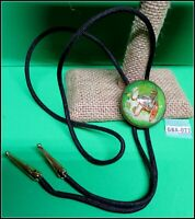 Vintage Glass Bridle Rosette BOLO/Pin or TIE Man Driving Buggy with whip