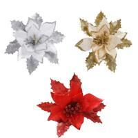 17cm Artificial Glitter Flower Christmas Tree Ornaments Xmas Party Home Decor
