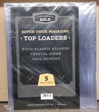 5 PCS CARDBOARD GOLD TOP-LOADER 10MM SUPER THICK MAGAZINE  PLASTIC HOLDERS