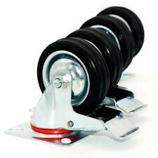 """4 Pack 3"""" Swivel Caster Wheels Rubber Base with Top Plate & Bearing Heavy Duty"""