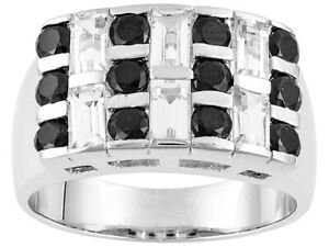 3.72ct Black Spinel & Baguette White Topaz In 925 Sterling Silver Mens Band Ring