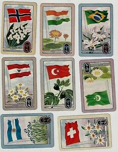 MELBOURNE 1956 OLYMPIC GAMES COLES CARDS .FLAGS AND FLORA. TWELVE LOVELY CARDS.