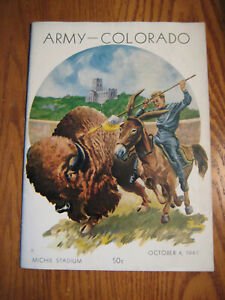 VINTAGE OCTOBER 4 1947 ARMY CADETS VS COLORADO BUFFALOS FOOTBALL PROGRAM