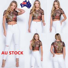 Women Mesh Floral Embroidered Shirt See-Through Sheer Crochet Crop Tops Blouse