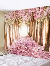 Flower Trees Avenue Tapestry Wall Hanging Pink Tapestry Home Room Art Decoration