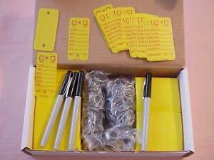 CAR DEALER 500 PLASTIC YELLOW KEY TAG W/MARKERS & RINGS 255YE