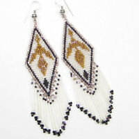 NATIVE STYLE COPPER WHITE DELICA BEADED EAGLE EARRINGS USA SELLER